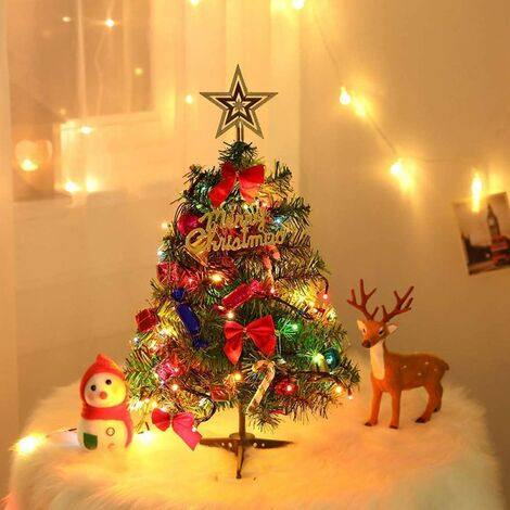 Arbre de Noël de Table de 60 cm,Mini Sapin de Noël Artificiel avec guirlandes Lumineuses et Ornements LED
