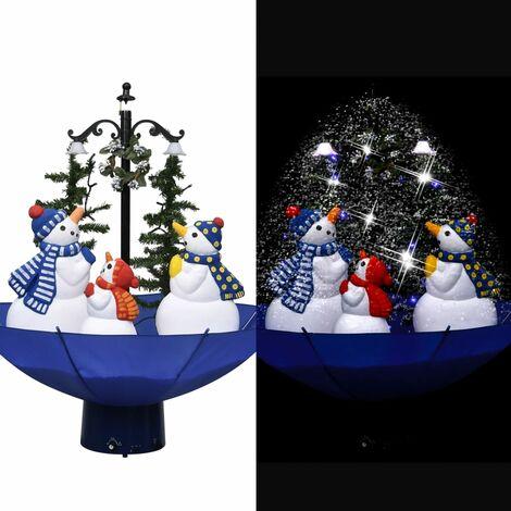 Arbre de Noël neigeux avec base de parapluie Bleu 75 cm PVC