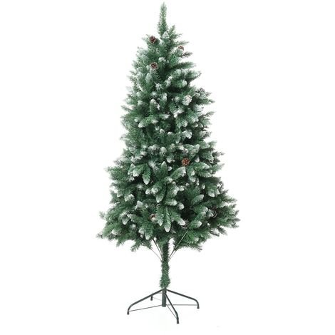 Arbre de Noël-6FT vert artificiel 1000 branche pointe avec 34 pommes de pin ornement arbre pour maison vacances fête Noël déco