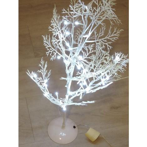 Arbre déco lumineux LED PVC blanc H800mm 40 Leds blanc pur fixe 3W alim 24V et câble argent BLACHERE A869