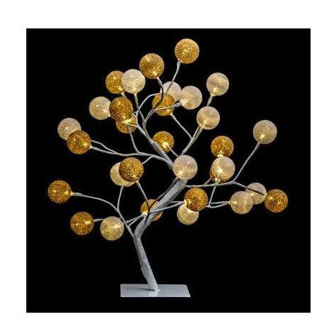 Arbre lumineux boules en coton - H 45 cm - Blanc