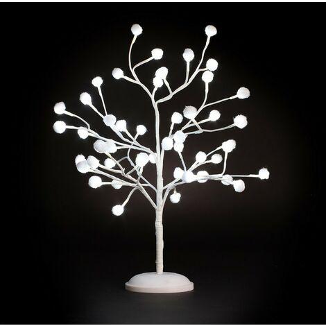 Arbre lumineux décor coton 48 Leds H 60 cm - Blanc