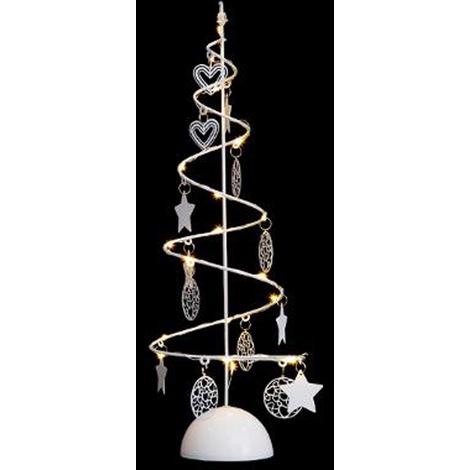 Arbre lumineux en spirale Noël 15 LED blanc chaud - Dim : D.14 x H.45cm -PEGANE-