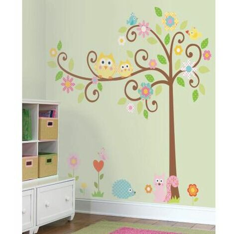 ARBRE MAGIQUE - Stickers arbre magique géant et ses animaux - Multicolore