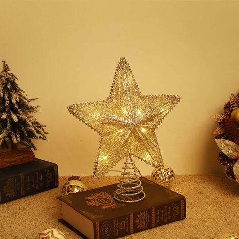 Arbre Noël Sapin Treetop, Étoile Treetop Scintillant, Étoile à 5 Pointes à LED pour Arbre de Noël Décoration Topper, Décor Treetop de Fête de Noël pour Sapin, Pentagramme Topper - Doré
