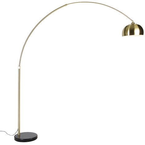 Arc lamp brass with black marble base adjustable - XXL