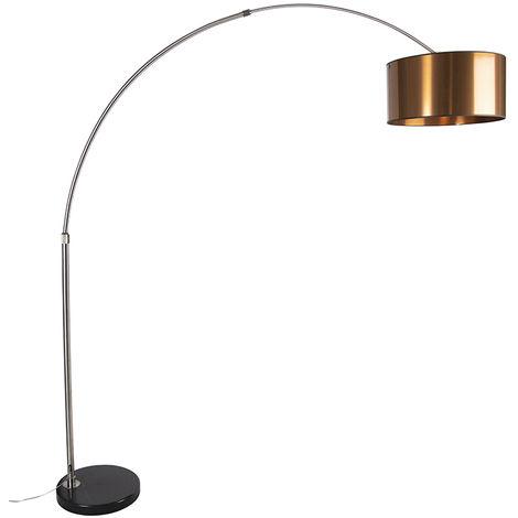 Arc lamp steel shade copper 50 cm - XXL