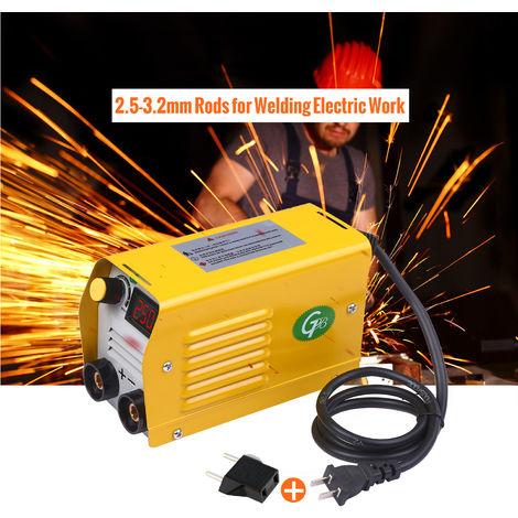 Arc Welder Lcd 250 Amperes Machine De Soudure Electrique Soudeur Portable Mini Anti-Stick Pour 2.5-3.2Mm Barre Pour Les Travaux De Soudage Electrique Avec Set De Securite, Jaune, Set 2