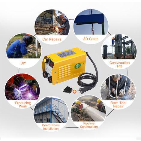 Arc Welder Lcd 250 Amperes Machine De Soudure Electrique Soudeur Portable Mini Anti-Stick Pour 2.5-3.2Mm Tiges De Soudure Electrique Travail, Jaune, Standard