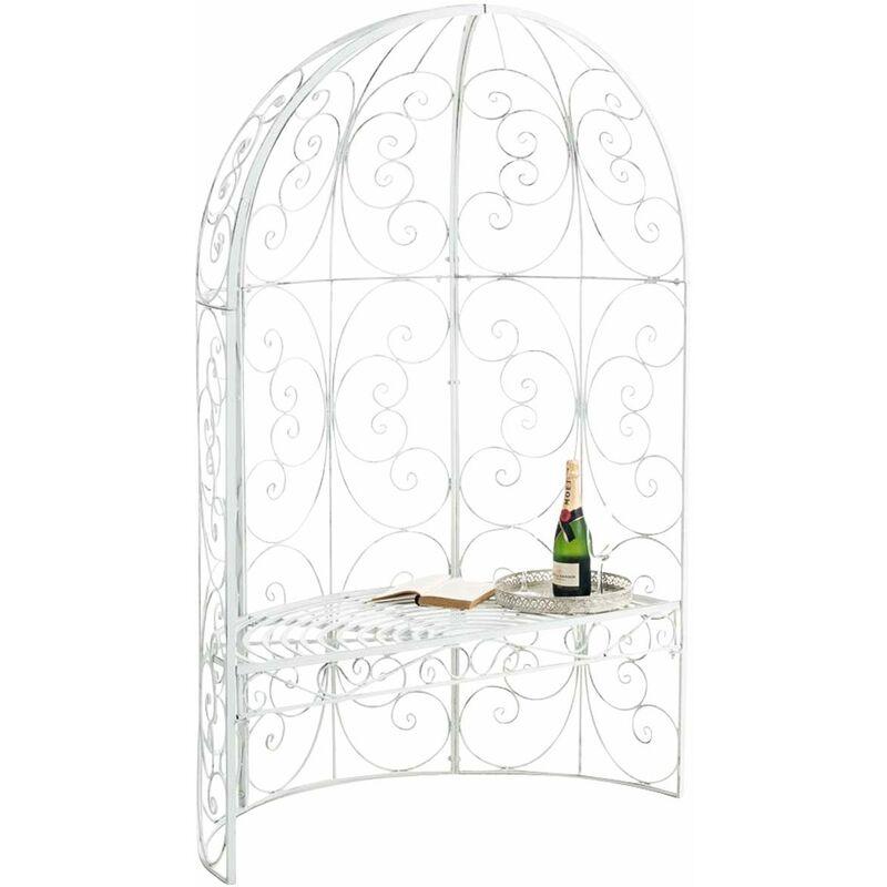 CLP - Banc de jardin Rosie Demi-cercle avec arche à rosiers antique_blanc