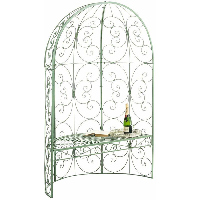 Banc de jardin Rosie Demi-cercle avec arche à rosiers antique/vert