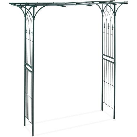 Arcade de rosiers en métal, Arche plantes grimpantes, Rectangulaire, H x L X P: 205 x 202 x 52 cm, vert foncé