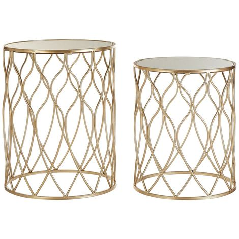 Arcana Side Tables, Mirror Top / Champagne Iron, Round / Set of 2