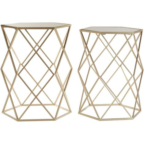 Arcana Side Tables, Mirror Top / Champagne Steel, Hexagonal / Set of 2