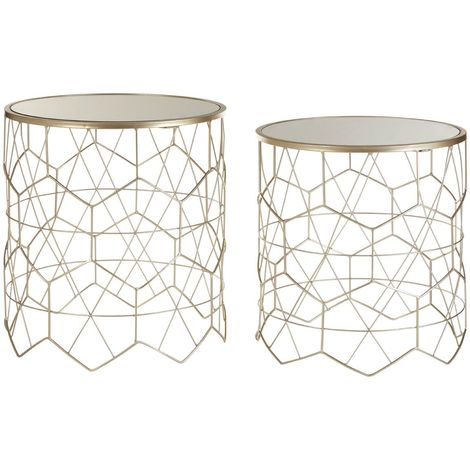Arcana Side Tables, Mirror Top / Champagne Steel, Round / Set of 2 Decor Room