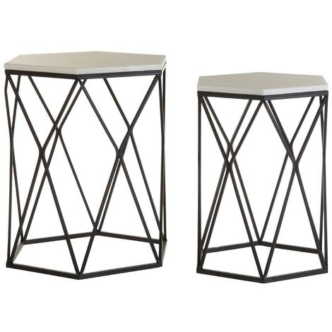 Arcana Side Tables, White Marble / Black Steel, Hexagonal / Set of 2
