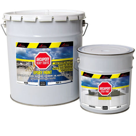 ARCAPOXY HEAVY TRAFFIC - Epoxy Paint, Floor and wall coating in factory, public parking, warehouse, lab, hospital, no solvants | White - 5kg kit (cover up to 10m² for 2 coats)