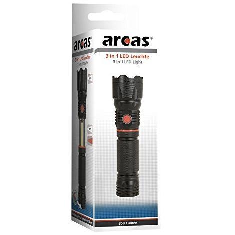 ARCAS 30700036, 3EN 1LAMPE LED, ALUMINIUM, NOIR, 17X 4,5X 4,5CM
