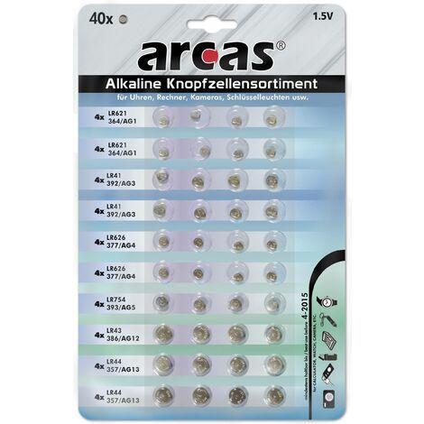 Arcas Ensemble de 40 piles bouton de différents types