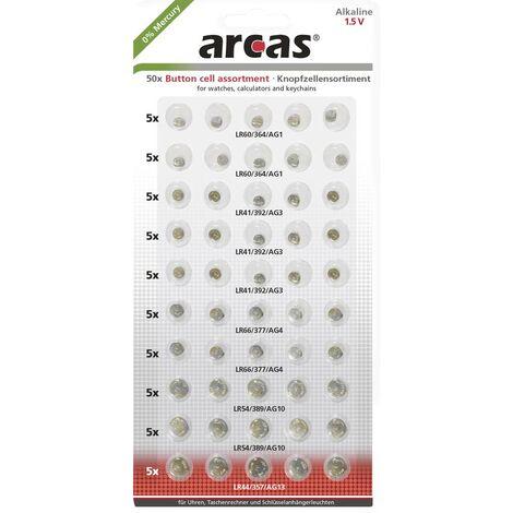 Arcas Knopfzellen-Set je 10x AG1, AG4, AG10, sowie 15x AG3, sowie 5x AG13 S346051