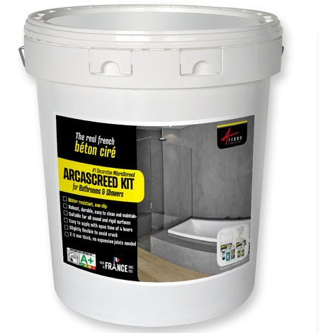 ARCASCREED KIT for bathrooms & showers, decorative microscreed, waxed concrete