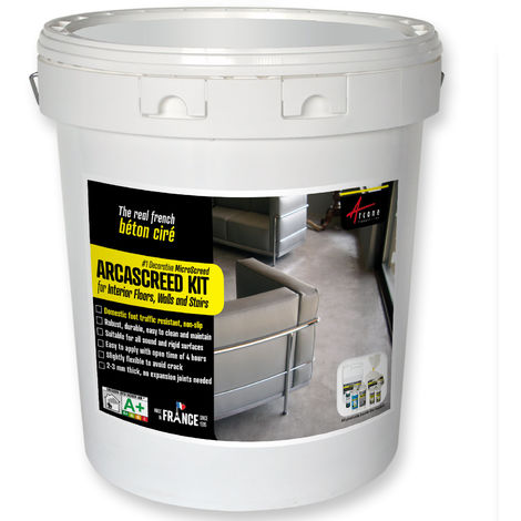 ARCASCREED KIT for interior floors, walls and stairs, decorative microscreed, waxed concrete
