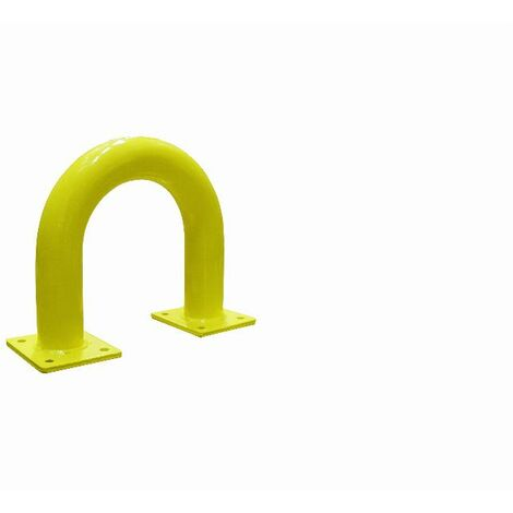 Arceau de protection acier Ø76mm VISO - jaune - 375 x 350 mm - platine de fixation 4 trous 160 x 140 mm - BAR37NJ