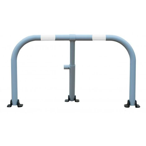 Arceau parking blanc bandes blanches - arceau anti-stationnement avec serrure intégrée