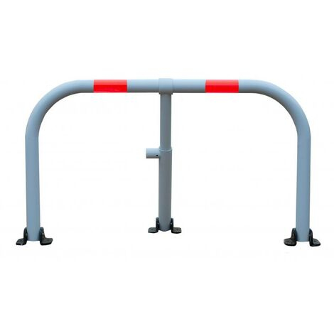 Arceau parking blanc bandes rouges - arceau anti-stationnement avec serrure intégrée
