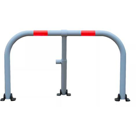 Arceau parking blanc bandes rouges - arceau anti-stationnement avec serrure intégrée (barillet s'entrouvrant)