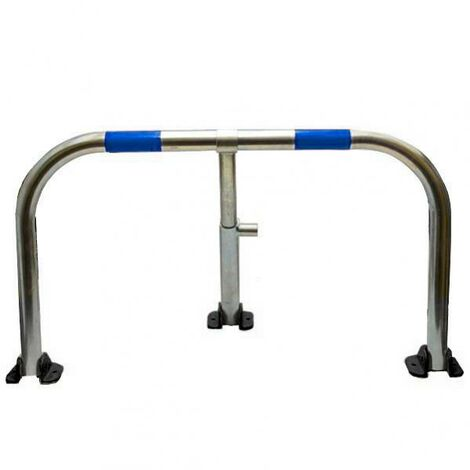 Arceau parking galvanisé bandes bleues pieds noirs - anti-stationnement serrure intégrée (barillet s'entrouvrant)