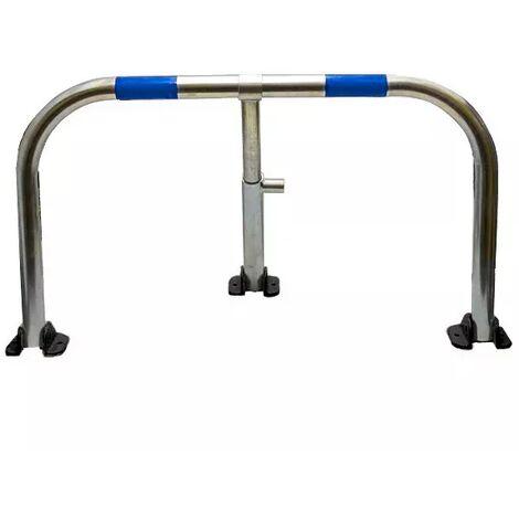 Arceau parking galvanisé bandes bleues pieds noirs - arceau anti-stationnement avec serrure intégrée