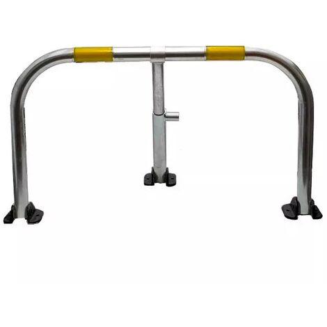 Arceau parking galvanisé bandes jaunes pieds noirs - anti-stationnement serrure intégrée (barillet s'entrouvrant)
