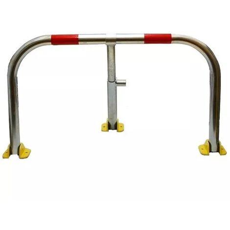 Arceau parking galvanisé bandes rouges pieds jaunes - arceau anti-stationnement avec serrure intégrée