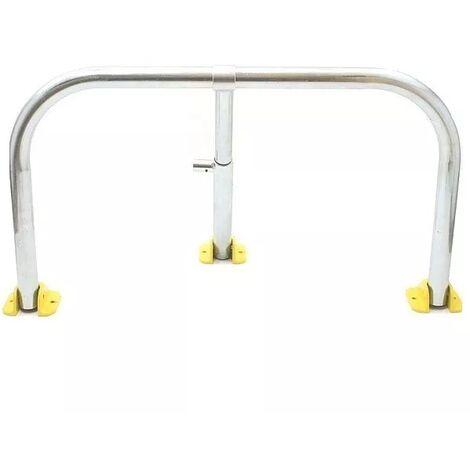 Arceau parking galvanisé pieds jaunes - arceau anti-stationnement avec serrure intégrée