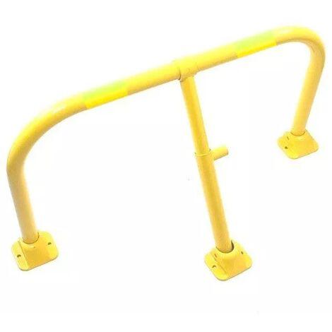 Arceau parking jaune bandes jaunes - arceau anti-stationnement avec serrure intégrée