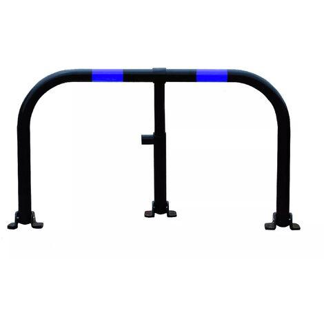 Arceau parking noir bandes bleues - arceau anti-stationnement avec serrure intégrée (barillet s'entrouvrant)