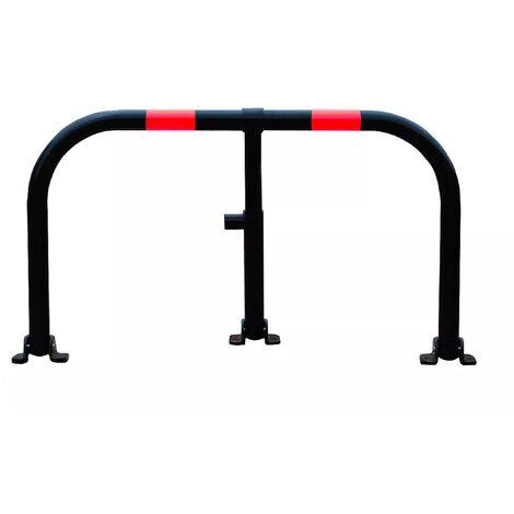 Arceau parking noir bandes rouges - arceau anti-stationnement avec serrure intégrée