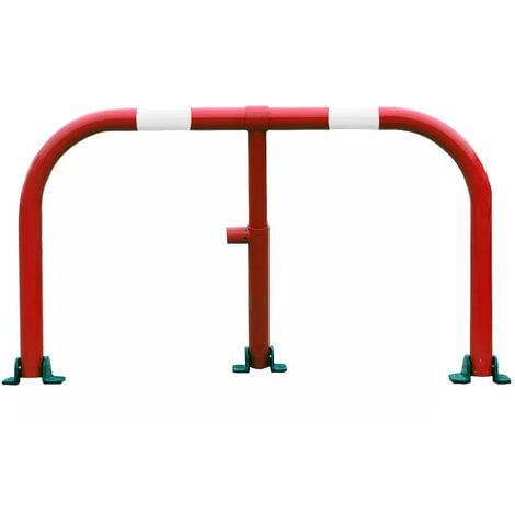 Arceau parking rouge bandes blanches - arceau anti-stationnement avec serrure intégrée