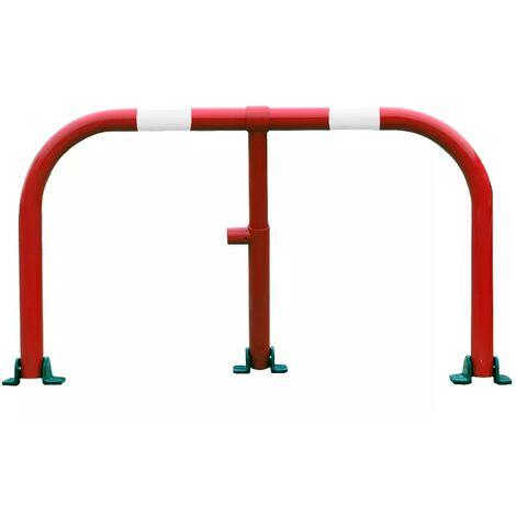 Arceau parking rouge bandes blanches - arceau anti-stationnement avec serrure intégrée (barillet s'entrouvrant)