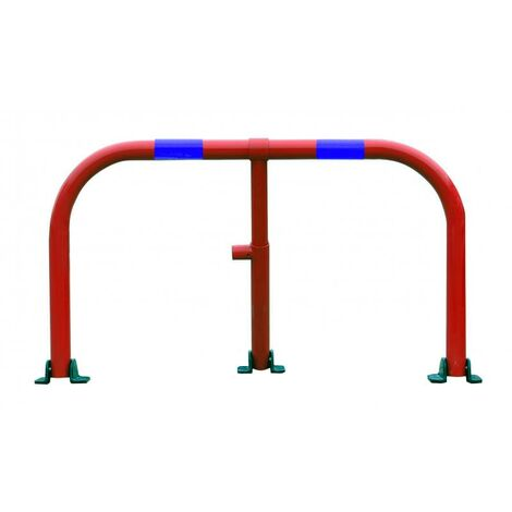 Arceau parking rouge bandes bleues - arceau anti-stationnement avec serrure intégrée