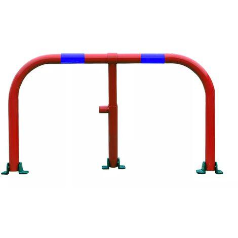 Arceau parking rouge bandes bleues - arceau anti-stationnement avec serrure intégrée (barillet s'entrouvrant)