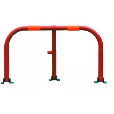 Arceau parking rouge bandes rouges - arceau anti-stationnement avec serrure intégrée