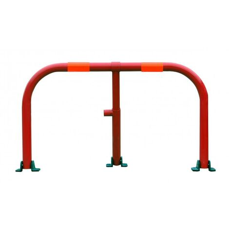 Arceau parking rouge bandes rouges - arceau anti-stationnement avec serrure intégrée (barillet s'entrouvrant)