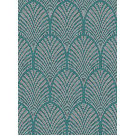 Arch Wallpaper Retro Ornament Art Deco Teal Metallic Sheen Gatsby Holden Decor