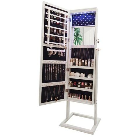 Archaize PVC Wood Grain Coating Upright Square Jewelry Storage Dressing Mirror Cabinet with LED Light White