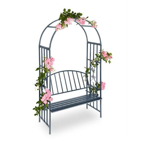Arche à roses pour jardin avec banc 2 métal en métal arceau colonne décoration HxlxP: 205 x 115 x 50 cm, gris