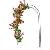Arche à Rosiers arceau de jardin Plantes Grimpantes Métal Acier 2,4 m roses rosiers tuteursécoration entrée de jardin, marron foncé