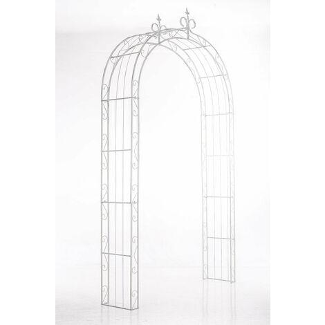 Arche à rosiers pour jardin revêtue de fer hauteur 260 cm blanc vieilli - blante