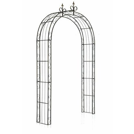Arche à rosiers pour jardin revêtue de fer hauteur 260 cm bronze vieilli - noir